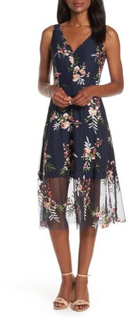 Floral Embroidered Mesh Midi Dress