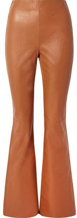 Lizzie Paneled Leather And Ribbed-jersey Flared Pants - Camel