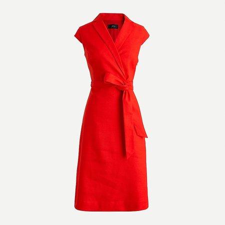 J.Crew: Belted Faux-wrap Dress In Stretch Linen For Women