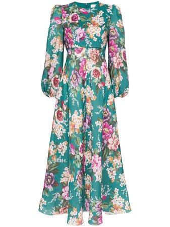Emerald & Floral Zimmermann Allia Floral Print Midi Dress | Farfetch.com
