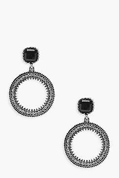 Emma Black Gem Top Diamante Hoop Earrings