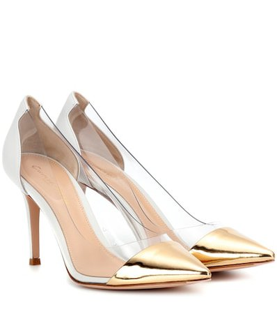 Plexi transparent and leather pumps