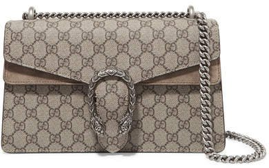 Dionysus Small Printed Coated-canvas And Suede Shoulder Bag - Beige