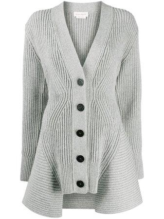 Alexander Mcqueen Peplum Rib-Knit Cardigan Aw20   Farfetch.Com