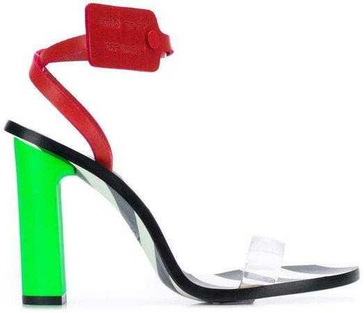 stripy heeled sandals