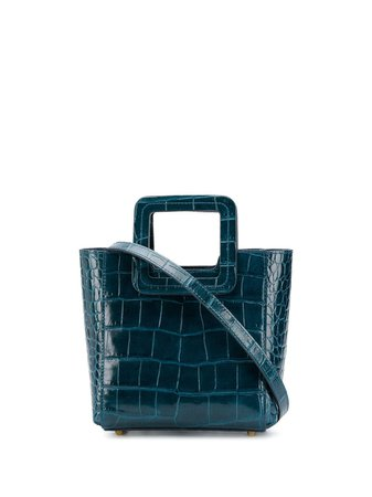 STAUD Square Handle croc-effect Tote Bag - Farfetch