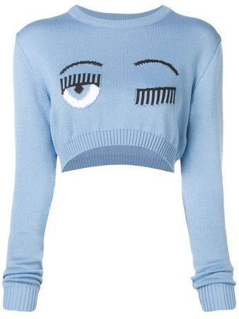 Chiara Ferragni cropped winking sweater $285 - Buy Online - Mobile Friendly, Fast Delivery, Price