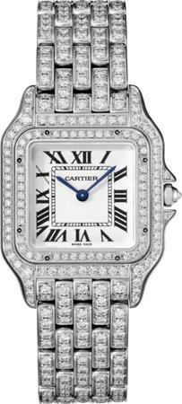 CRHPI01130 - Panthère de Cartier watch - Medium model, 18K white gold, diamonds - Cartier