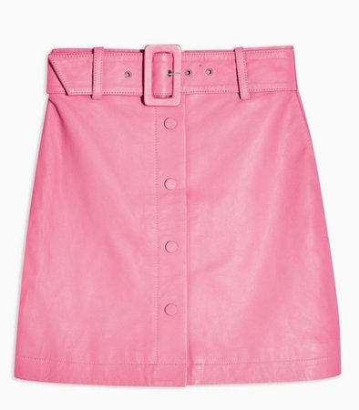 Topshop Pink Leather Skirt