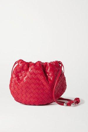 The Mini Bulb Gathered Intrecciato Leather Shoulder Bag