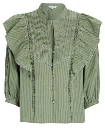 INTERMIX Private Label Eloise Ruffled Button-Down Blouse | INTERMIX®
