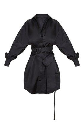 Black Belted Tie Shirt Dress | Dresses | PrettyLittleThing
