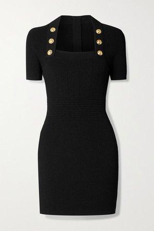 Button-embellished Ribbed-knit Mini Dress - Black