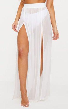 Minah White Mesh Maxi Skirt   Bras   PrettyLittleThing