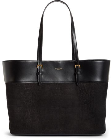 Medium East/West Leather Shopping Tote
