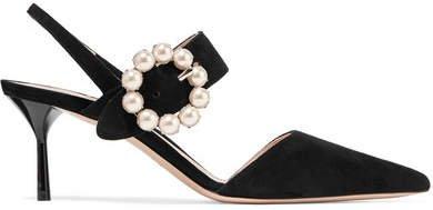 Faux Pearl-embellished Suede Slingback Pumps - Black