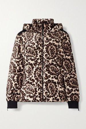 Printed Velvet Down Ski Jacket - Brown