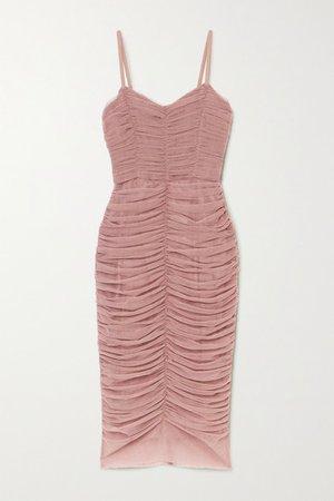 Dolce & Gabbana | Ruched tulle midi dress | NET-A-PORTER.COM