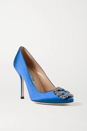 Hangisi Embellished Satin Pumps - Royal blue