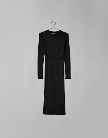 Платье миди из рифленого трикотажа - Платья - Bershka Russia