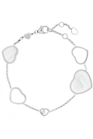 Chopard | Happy Hearts 18-karat white gold, diamond and mother-of-pearl bracelet | NET-A-PORTER.COM