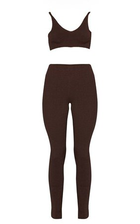 Chocolate Knitted Bralet And Flare Trousers Set | PrettyLittleThing