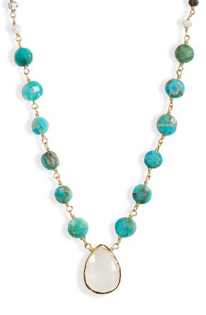 ela rae Semiprecious Stone Pendant Necklace | Nordstrom