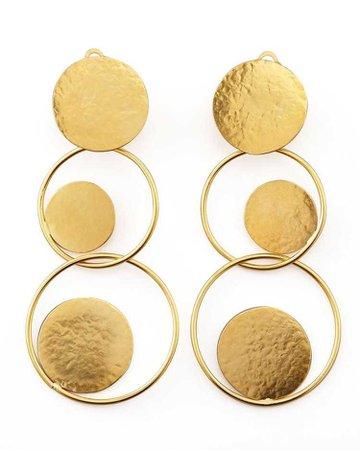 Hammered Gold Circle Drop Earrings - Herve Van Der Straeten