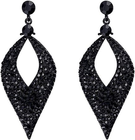 Amazon.com: BriLove Bohemian Boho Dangle Earrings for Women Crystal Hollow Leaf Chandelier Earrings Black Black-Silver-Tone: Jewelry
