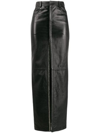 Shop black Saint Laurent stud detailing long skirt with Express Delivery - Farfetch