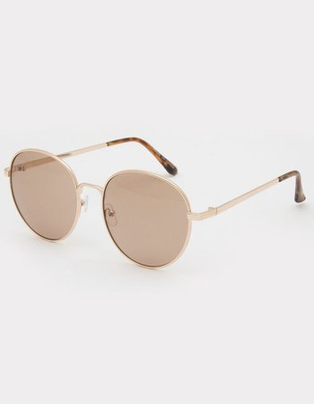 Classic Round Lens Sunglasses - GOLD - 919593 | Tillys