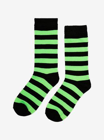 Black & Green Stripe Crew Socks