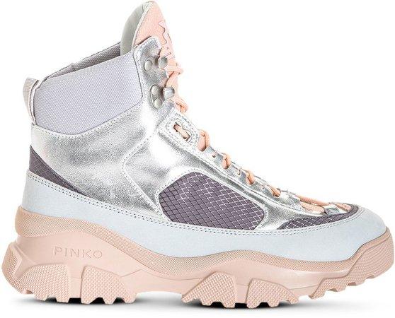Laminated Trek hi-top sneakers