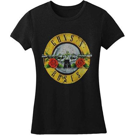 Amazon.com: Bravado Guns N Roses Distressed Bullet Juniors Shirt, Black , Small : Clothing