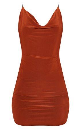 plt rust slinky scoop back dress