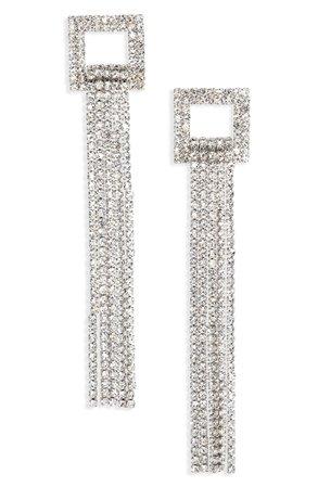 CRISTABELLE Crystal Geo Fringe Drop Earrings | Nordstrom
