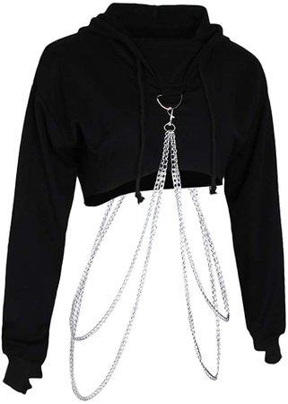 Womens Fashion Metal Chain Hoodie Black Pullover Crop Top Hooded Sweatshirt - Black, M: Amazon.co.uk: Clothing