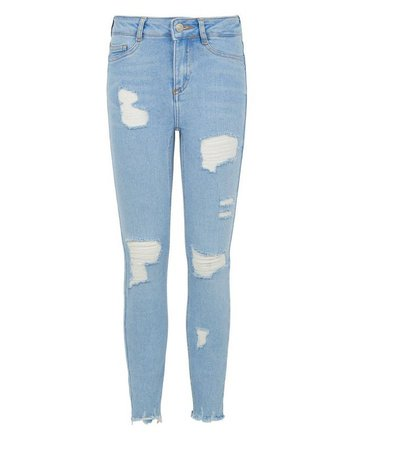 Girls Blue Bleach High Waist Super Skinny Jeans | New Look