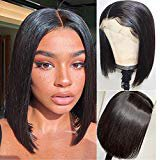 Amazon.com : SS Hair 13x6 Lace Front Wigs Human Hair Wig Pre Plucked Hairline Right Side Part Bob Wigs with Baby Hair for Black Women 8 inches Natural Black 130% Density : Beauty