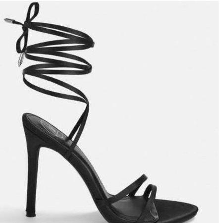 black wrap heels