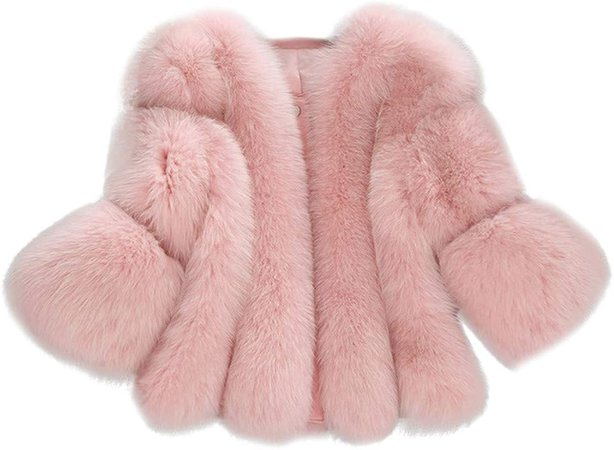 iYYVV Women Winter Warm Fashion Solid Jackets Short Stitching Button Faux Fur Coat Pink at Amazon Women's Coats Shop