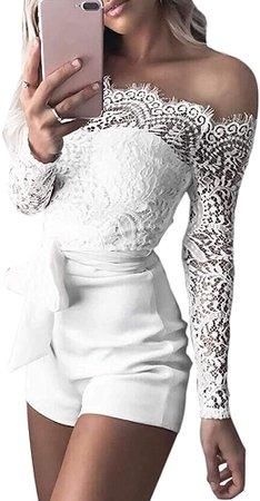 Amazon.com: Women Lace Jumpsuit Off The Shoulder Short Pants Belt Sexy Romper White M: Clothing