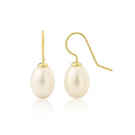 Gloucester Freshwater White Pearl Drop Earrings on Gold Hooks Auree Jewellery