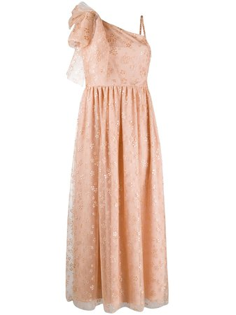RedValentino glitter floral one-shoulder dress - Farfetch