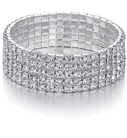Amazon.com: JEWMAY Yumei Jewelry 8 Strand Rhinestone Stretch Bracelet Silver-Tone Sparking Tennis Bracelet: Clothing