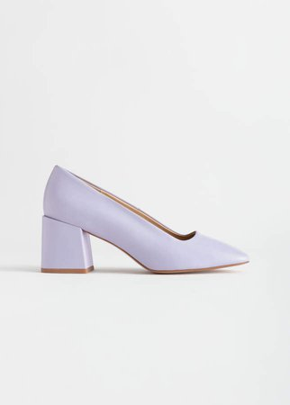 Suede Block Heeled Pumps