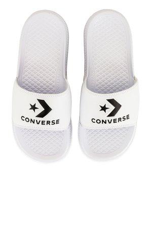 Converse All Star Slide in White & Black | REVOLVE