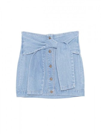 Margo Tied Waist Denim Mini Skirt