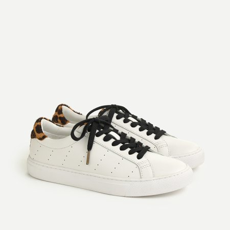 J.Crew: Saturday Sneakers With Leopard Calf Hair Detail For Women
