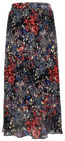Multi Colour Floral Print Pleated Skirt